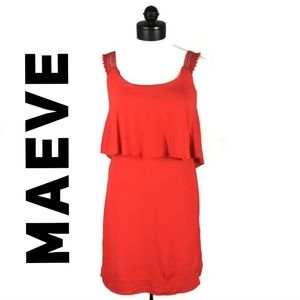 Maeve Anthropologie lined red dress size 0